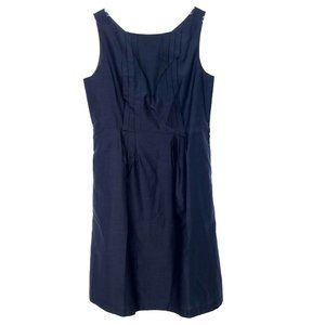 LANDS END Silk Blend A-line Dress Sleeveless Pleat